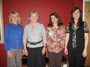 Liz Macann, Head of Coaching at the BBC, with Carol Wilson, Angela Dunbar and Wendy Oliver after delivering Transformational Change through Metaphor, a two day advanced coach training programme in Clean Language for the BBC